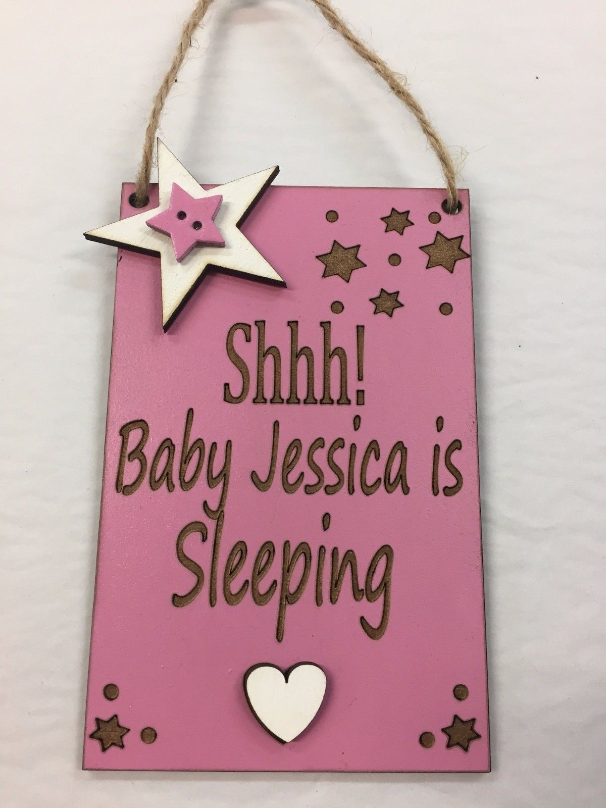 Shhh Baby Sleeping Personalised Front Door Baby Sign Plaque Blue Or Pink